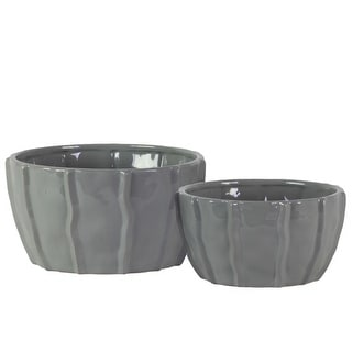 Decorative Ceramic Bowl With Embedded Wave Design, Glossy gray, Set of 2