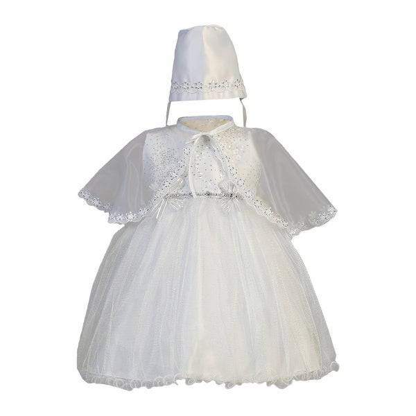 Baby Girls White Sparkled Organza Cape Bonnet Christening Dress - 18 months