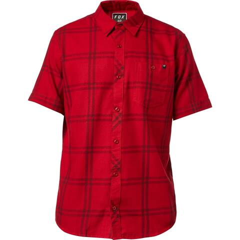Fox Men's Brake Check Woven Button-Down Shirt, Red, XL