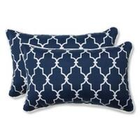 """Set of 2 Moroccan Gate Navy Blue and White Rectangular Corded Throw Pillows 18.5"""""""