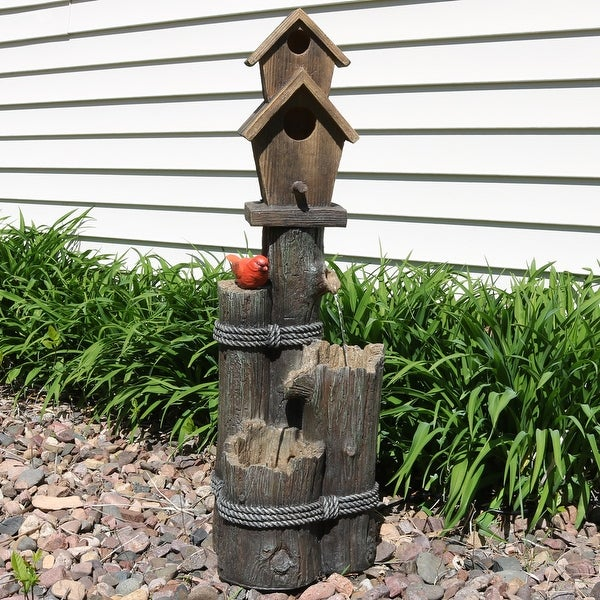 Sunnydaze 2 Story Birdhouse with Cardinal Outdoor Water Fountain - 34 Inch Tall
