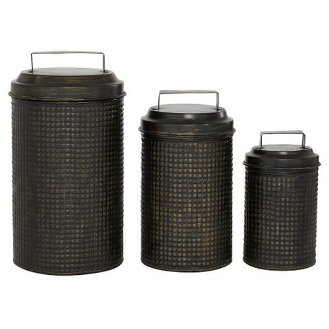 3 Pcs Metal Canister Sets For Kitchen Counter, With Lid, Bronze - 6 x 6 x 11