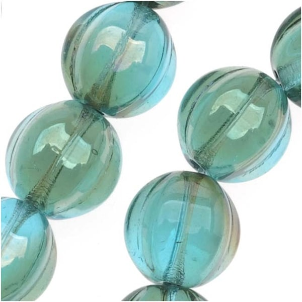 Czech Pressed Glass - Round Melon Beads 8mm Diameter 'Aquamarine Celsian' (25)