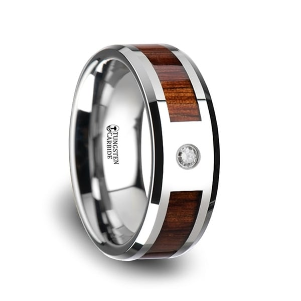 KAHUNA Tungsten Carbide Beveled Edged Diamond Wedding Band With Koa Wood Inlay & Polished Edges