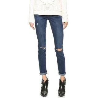 Paige NEW Dark Blue Women's Size 27X27 Slim Skinny Distressed Jeans