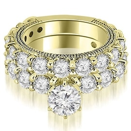4.65 cttw. 14K Yellow Gold Antique Round Cut Diamond Engagement Set
