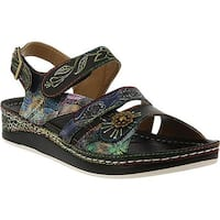 L'Artiste by Spring Step Women's Sumacah Strappy Slingback Black Multi Leather