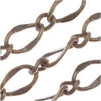 Antiqued Brass Long Short Curb Chain 5mm Bulk By The Foot
