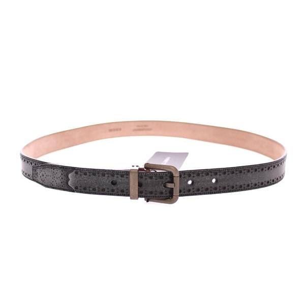 Dolce & Gabbana Blue Leather Logo Belt - 95-cm-38-inches