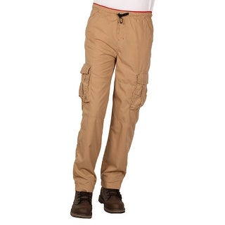 Camp & Campus Men's Elastic Waist Pull-On Poplin Cargo Pant