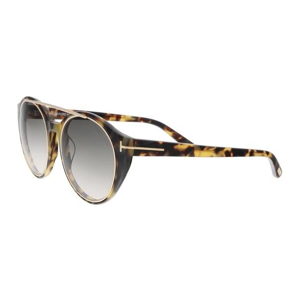 aab03e89af Shop Tom Ford FT0383 S 56B JOAN Yellow Havana Round Sunglasses - 52 ...