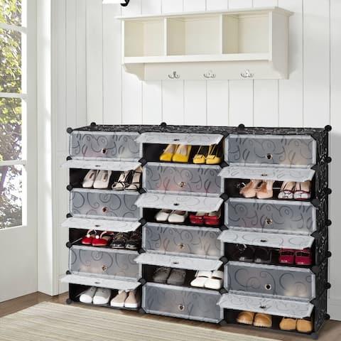 LANGRIA 18-Cube DIY Shoe Rack Storage Drawer Unit Modular Organizer