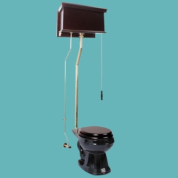 Dark Oak High Tank Pull Chain Toilet Black Round Br