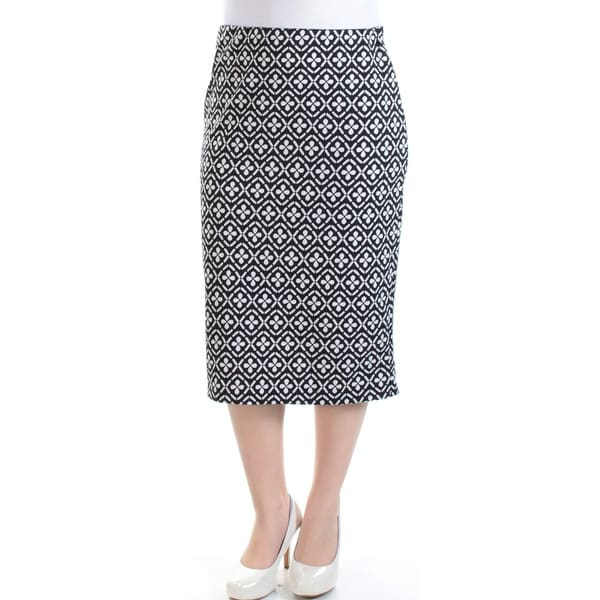 Womens White Floral Midi Pencil Wear To Work Skirt Size S
