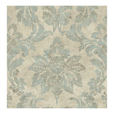 Astor Turquoise Damask Wallpaper - 20.5 x 396 x 0.025