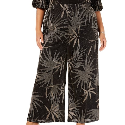 MSK Womens Pants Gold Plus Wide Leg Shimmer Foliage
