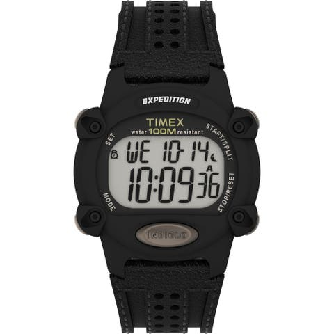 Timex Men's Expedition Digital CAT 39mm Watch - Black Case with Black Fabric & Leather Strap - One Size