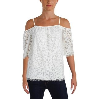 Vince Camuto Womens Petites Casual Top Lace Elbow Sleeves