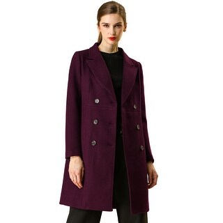 Link to Women's Double Breasted Notched Lapel Winter Long Trench Coat - Burgundy Similar Items in Women's Outerwear