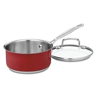 Cuisinart CS19-16MR Chef's Classic Stainless 1-1/2-Quart Saucepan with Cover, Metallic Red