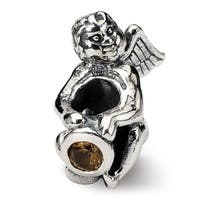 Sterling Silver Reflections November CZ Antiqued Bead (4mm Diameter Hole)
