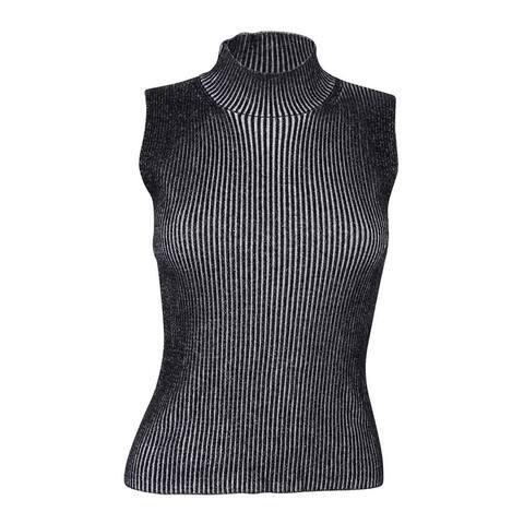 Rachel Roy Women's Sleeveless Ribbed Top - Black/White - M