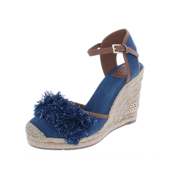 94e8cf0e023f91 Shop Tory Burch Womens Shaw Espadrilles Denim Wedge - 8 Medium (B