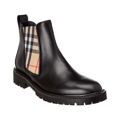 Burberry Vintage Check & Leather Chelsea Bootie
