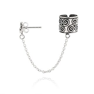 Silver Celtic Triple Spiral Ear Cuff with Chain One Piece