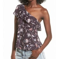 ASTR Women's Small One Shoulder Floral Ruffle Blouse