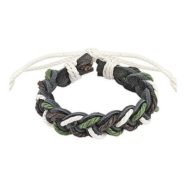 Tri- Color Braided Leather Bracelet with Drawstrings (10 mm) - 7.5 in