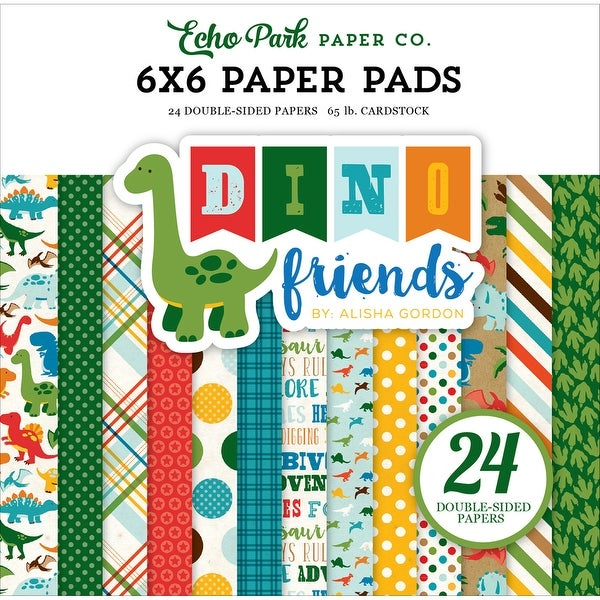 "Echo Park Double-Sided Paper Pad 6""X6"" 24/Pkg-Dino Friends"