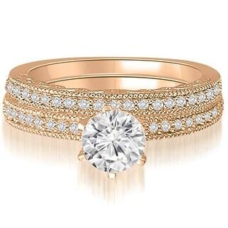 0.85 CT.TW Antique Milgrain Round Diamond Bridal Set - White H-I