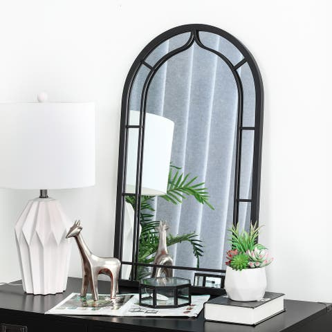 """Glitzhome 33""""H Oversized Arched Black Metal Glass Wall Mirror - 33"""""""