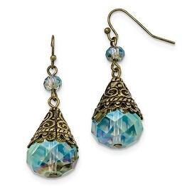 Brass Green Crystal Dangle Earrings