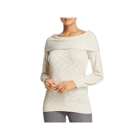 Heather B Womens Marilyn Pullover Sweater Ribbed Trim Cowl Neck - Silver Grey