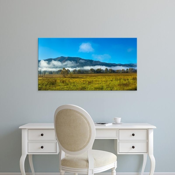 Easy Art Prints Panoramic Image 'Fog, Mountain, Cades Cove, Great Smoky Mountains National Park, Tennessee' Canvas Art