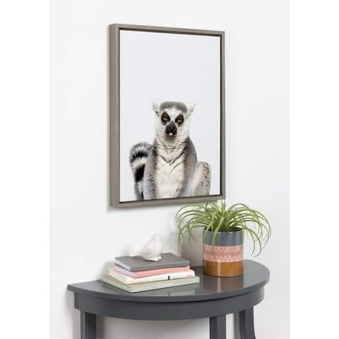 DesignOvation Sylvie Sitting Lemur Framed Canvas by Amy Peterson