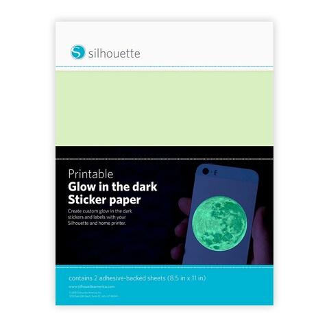 Silhouette Printable Sticker Paper 8.5x11 2/Pkg-Glow-In-The Dark