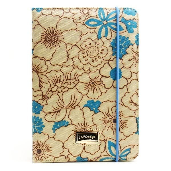 JAVOedge Blue Poppy Print Book Style Case with Stand, Hand Strap, Angled Grooves for the Apple iPad Mini, iPad Mini 2