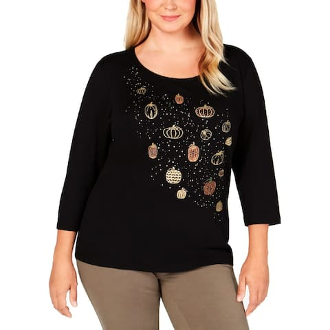 Karen Scott Womens T-Shirt 3/4 Sleeves Glitter