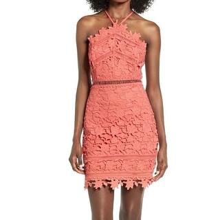 ASTR Coral Womens Medium Lace Halter Sheath Dress