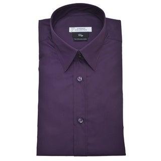Versace Men City Cotton Dress Shirt Purple