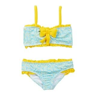Azul Baby Girls Blue Yellow Daisy Crazy Bandeau 2 Pc Bikini Swimsuit - 18 months