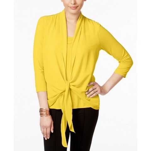 NY Collection Yellow Womens Size Medium M Layered-Look Drape Blouse