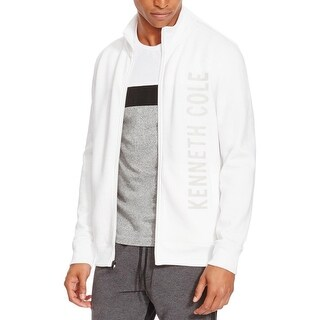 Kenneth Cole Reaction Mens Full Zip Sweater Fleece Logo Graphic - L