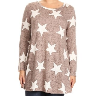 Women Plus Size Long Sleeve Pocket Jersey Knit Tonic Top Tee Shirt USA Beige B517 STA