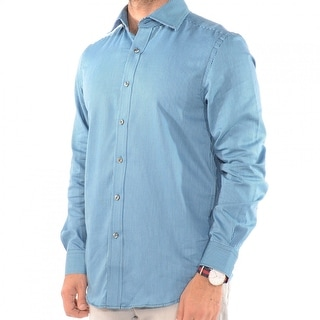 International Report Men's Dress Shirt With Long Sleeves in Teal Stripe