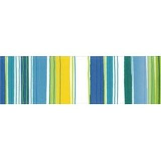Offray 426837 Retro Stripe Ribbon 1.5 in. 9 Feet-Blue Green