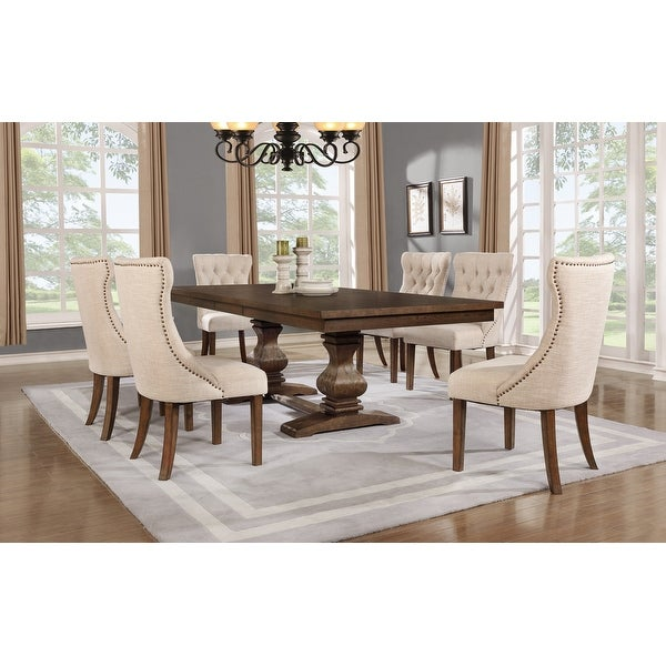 """Best Quality Furniture 7-piece Walnut 18"""" Extension Dining Set. Opens flyout."""
